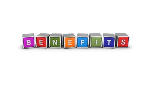Benefits written on blocks