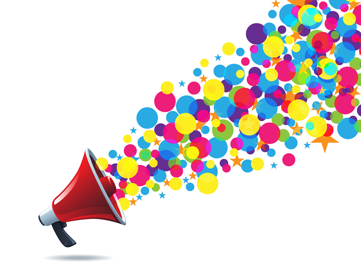 animated image of microphone with balloons coming out of it