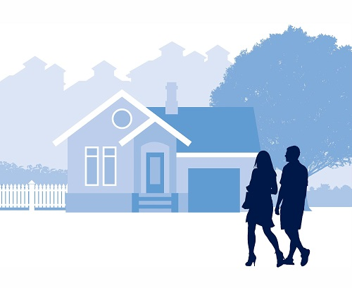 animated image of people walking along the road of houses