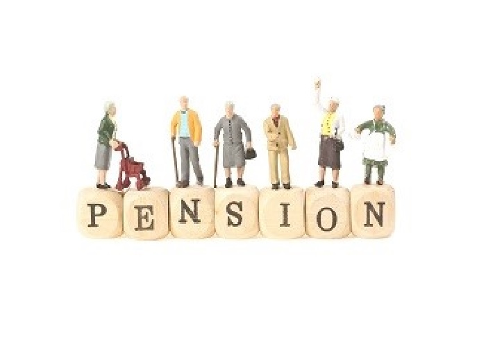 Wooden blocks with letters on spelling out pension with little figures of elderly people standing on them